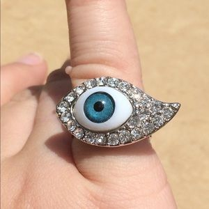 Jewelry - Silver Tone Crystal Blue Evil Eye Novelty Ring